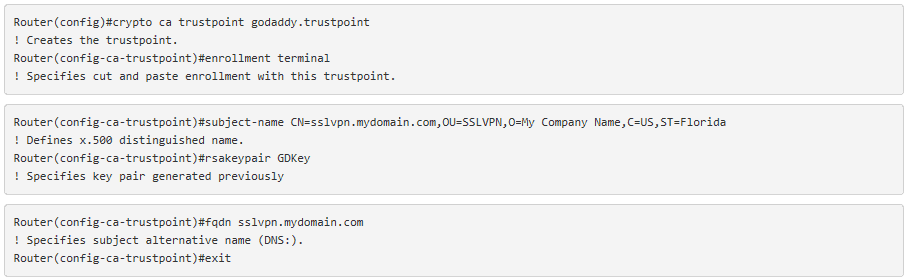 Installing GoDaddy SSL Certificates on a Cisco IOS Router